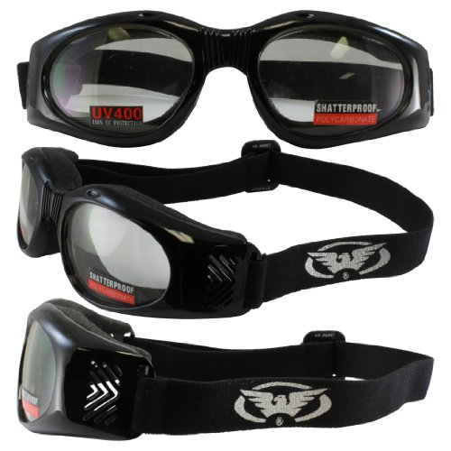 Goggles Black Frame Clear Lenses Side Venting, Soft Airy Foam, good for smaller faces, suggested retail of 12.95. Shatterproof Scratch Resistant Polycarbonate Lenses (Soft Airy Foam)