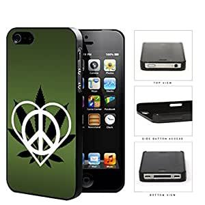 Peace Love Weed Dark Green Hard Plastic Snap On Cell Phone Case Apple iPhone 4 4s