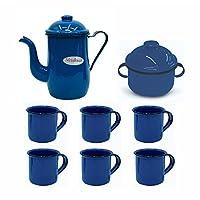 Kit Para Café Esmaltado ou Ágata Com Bule 1,25L Açucareiro e 6 Canecas 70ml Azul Retro - Metallouça
