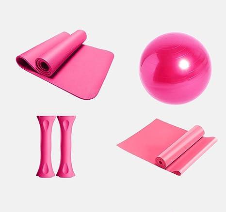 Yoga Juego Rosa 1 Yoga estera de NBR, 1 pelota de yoga de PVC, 2 mancuernas ...