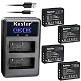 Kastar Dual LCD USB Charger and 4 Pack Battery for Fujifilm NP-W126 NP-W126s BC-W126, Fujifilm X-PRO1 X-PRO2 X-A1 X-A2 X-A3 X-A5 X-A10 X-E1 X-E2 X-E2S X-E3 X-M1 X-T1 X-T2 X-T3 X-T10 X-T20 X-H1 Cameras