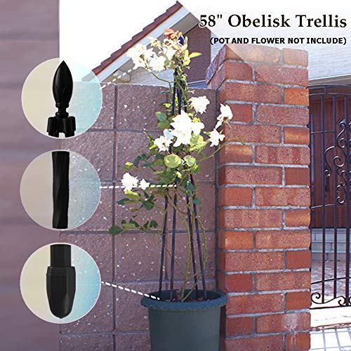 Garden Obelisk Trellis for Potted Climbing Plants Indoor and Outdoor,A Frame,Wrought Iron,Black (Obelisk Tall Garden)