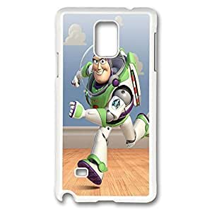 Galaxy Note 4 Case, Creativity Design Buzz Lightyear Print Pattern Perfection Case [Anti-Slip Feature] [Perfect Slim Fit] Plastic Case Hard White Covers for Samsung Galaxy Note 4