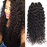 GEM Beauty 3 Bundles Deal Curly Virgin Hair Unprocessed Brazilian Human Hair Extensions Brazilian Deep Wave Curly Hair Natural Black Mixed Length (16 18 20inch)