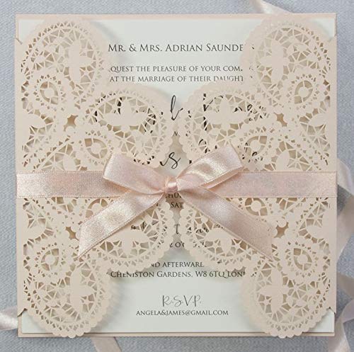 50 Cards Pack Elegant Invitation Cards Laser Cut Peach Lace Square with Printable Insert Invitations with Envelopes