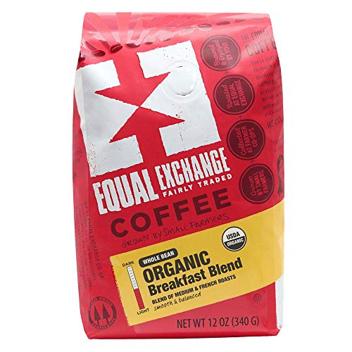 Equal Exchange Organic Whole Bean Coffee, Breakfast Blend, 12-Ounce Bag