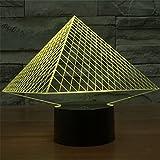 新奇特視覚立体燈LEDライト七色ピラミッドタッチ3 D七色グラデーションスタンド夜ランプ 3D-TD68