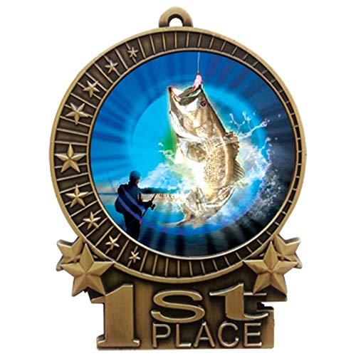 Express Medals 3インチ バスフィッシング 1位 メダル ゴールドに赤と白と青のネックリボンの賞 トロフィー XMDMY4 B07G7RD3CK  50