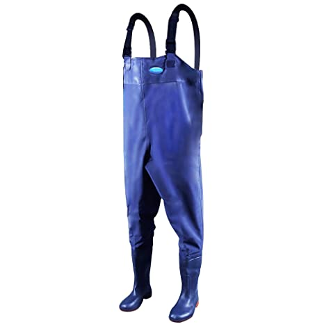 Image result for Webetop Men's Fishing Chest Waders with Boots Waterproof Breathable Rubber Lightweight Anti-Slip Wading Overalls Pants with Inner Pocket Adjustable Shoulder Strap Blue Size 8-11
