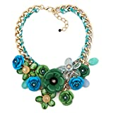 LovelyCharms Green Blue Flower Floral Statement Necklace Chunky Pendant