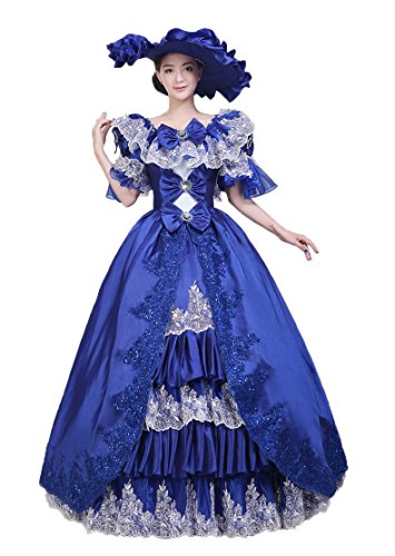 Zukzi Women's Gothic Victorian Lolita Masquerade Dresses Ball Gowns, Customized, W020 Blue