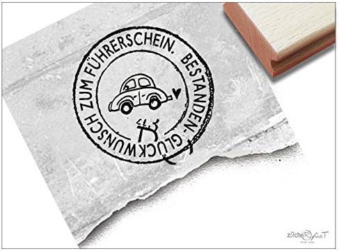 Sello – T 16 4 – Sello de texto – Post sello redondo con Auto – Felicitación para carnet de conducir y – ... para Bonos, Scrapbook, artjournal, tarjetas de felicitación y más: Amazon.es: Hogar