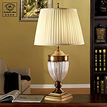 Upscale European Crystal Table Lamps Large Living Room Touch Retro Full Copper Lamp Push Button Switch
