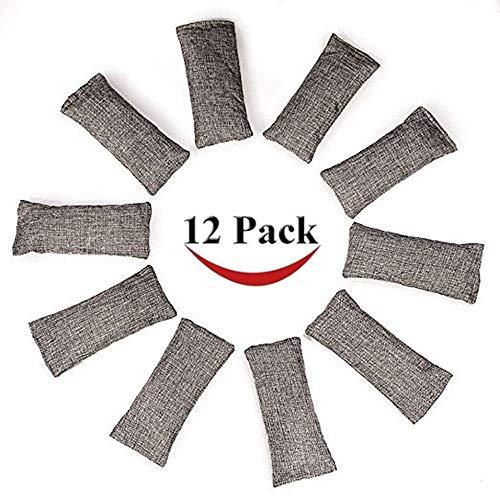 12 Packs Natural Air Purifying Bags ,150g Each Pair Mini Bamboo Charcoal Bags ,Shoe Deodorizer and -