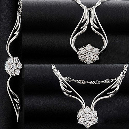 Collier ailes d'anges cristaux swarovski elements zirconium argent 925