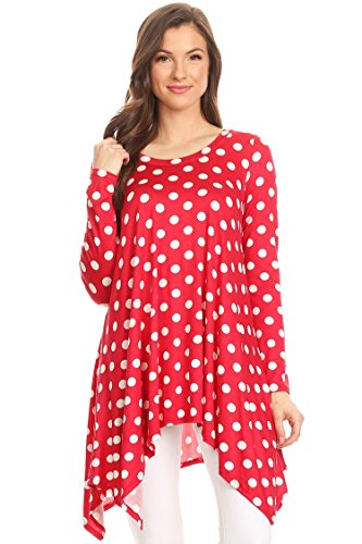 Loose Fit Round Neck Long Sleeves Tunic Top/Made in USA Red Polka Dot 3XL]()