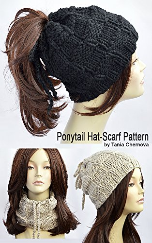 Ponytail Hat Pattern Knitting Pattern Ponytail Beanie Pattern Womens Hat  Pattern Hole Hat Ponytail Hat Scarf 41e2de2a90a