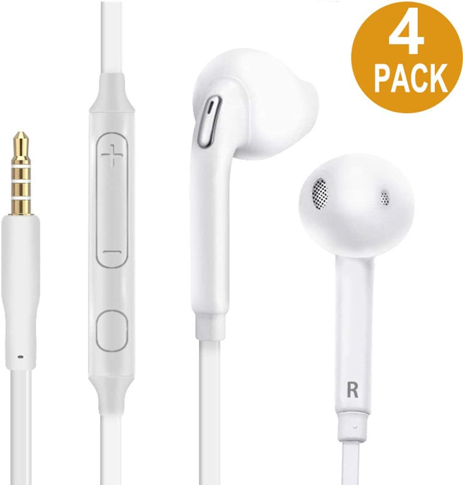 [4 Pack] Earbuds/Headphones/Earphones with Microphone,Hongzan 3.5mm Stereo Jack Headphones with Enhanced Bass Stereo Noise Cancelling Volume Control Flat Cord Compatible Samsung/Android/MP3 MP4 Kids