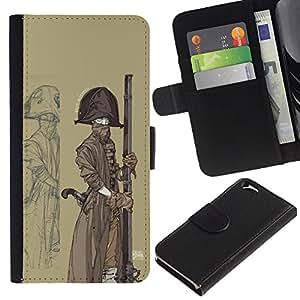 KLONGSHOP // Tirón de la caja Cartera de cuero con ranuras para tarjetas - Pirata marinero nave Sombrero Arma Barco Arte Pintura - Apple Iphone 6 //