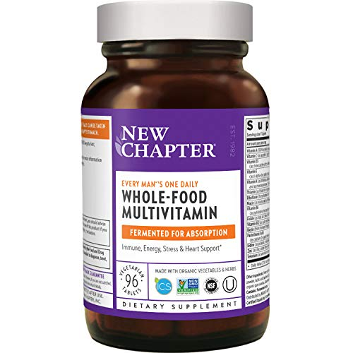 New Chapter Men's Multivitamin, Every Man's One Daily Fermented with Probiotics + Selenium + B Vitamins + Vitamin D3 + Organic Non-GMO Ingredients - 96 Count (Packaging May Vary) (ANC-199)