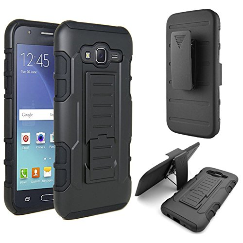 Galaxy J7 Case, MCUK 3 Layer Shock Resistant Hybrid Armor Full Body Protective Case with Kickstand and Removable Holster Swivel Belt Clip Cover for Samsung Galaxy J7 2015(J7)