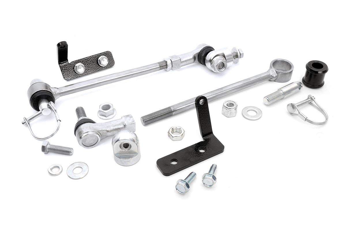 Rough Country 1128 - Front Sway Bar Quick Disconnects for 4-6.5-in Lifts for 4WD Jeep: 84-01 XJ, 86-92 Comanche MJ, 93-98 Grand Cherokee ZJ