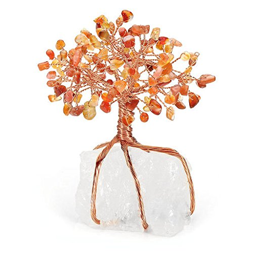 MANIFO Natural Crystal Tumbled Stones Tree of Life Ornament, Reiki Healing Money Tree Feng Shui Gemstone Decor (Red ()