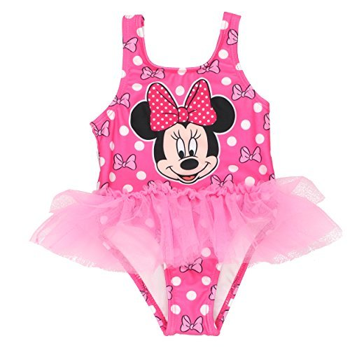 Minnie Mouse Girls Swimwear Swimsuit (4T, Pink) (Swimsuit Disney One Piece)