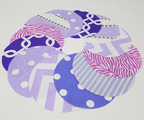 Purple Candy-Color Jar Topper Set, Dozen (12), Handcrafted Fabric Circles YoYo -