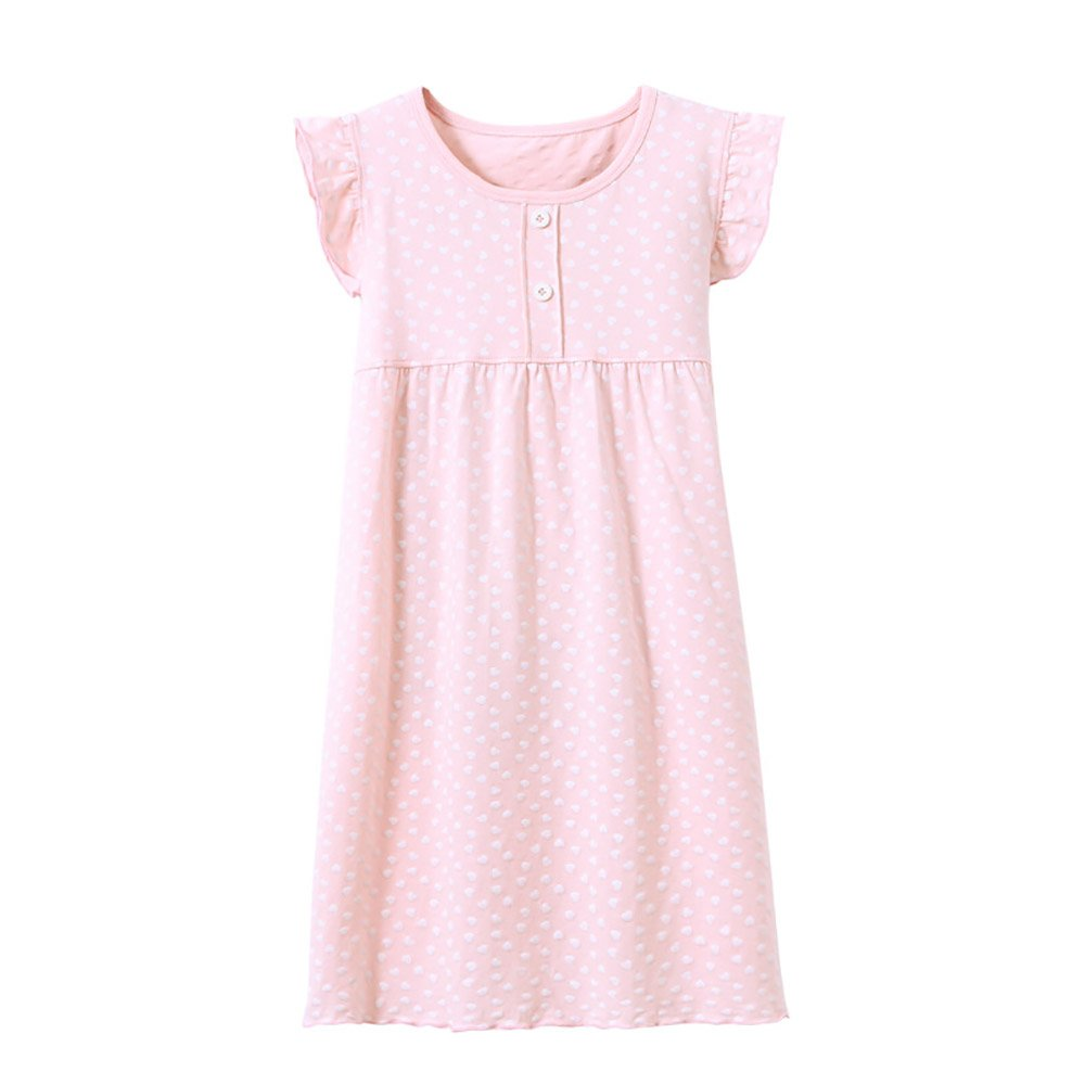 BOOPH Girls' Princess Nightgown, Cotton Baby Toddler Girl Heart Shape Dots Sleepwear Short Sleeve Nightwear Dress for Girls Pink 2-3 Year Old by BOOPH (Image #1)