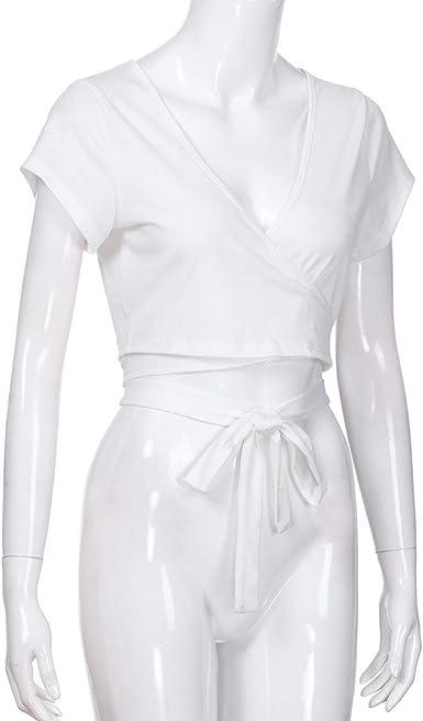 YpingLonk Sexy Camiseta para Mujer Anudado Corbata Banda T Shirt ...