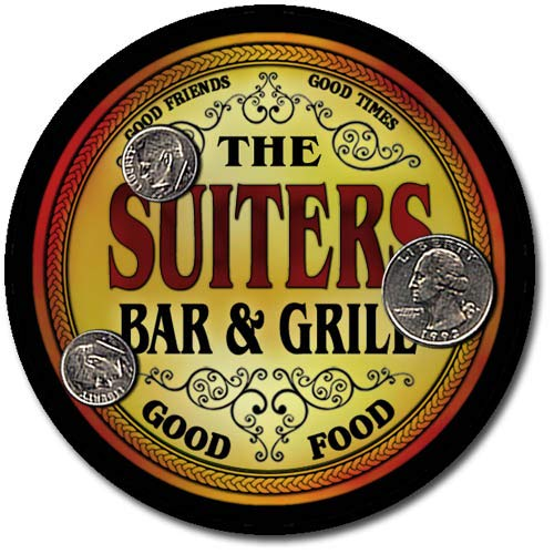 Suiters Family Bar and Grill Patriotic Rubber Drink Coaster Set