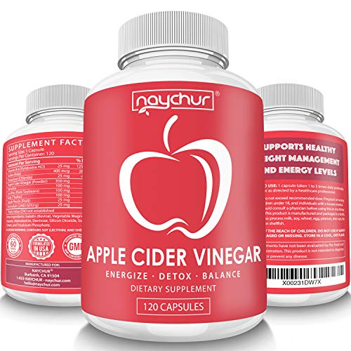 Apple Cider Vinegar Capsules - Detox Cleanse Diet Pills That Work Fast For Women Men - Support Weight Management Metabolism Hunger Appetite Control - Natural Bloating Relief Supplements - ACV Capsules