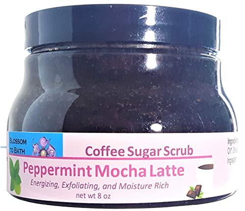 (Blossom to Bath Peppermint Mocha Latte Coffee Sugar Scrub (8 oz) - Fresh Mint and Rich Fudge - Energizing, Exfoliating, and Moisture Rich)