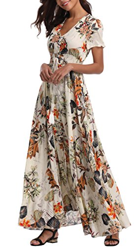 VintageClothing Women's Floral Print Maxi Dresses Boho Button Up Split Beach Party Dress, Beige, XL ()