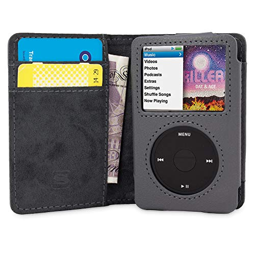 iPod Classic Case, Snugg Grey Leather Flip Case [Card Slots] Executive Apple iPod Classic Wallet Case Cover and Stand - Legacy Series ()