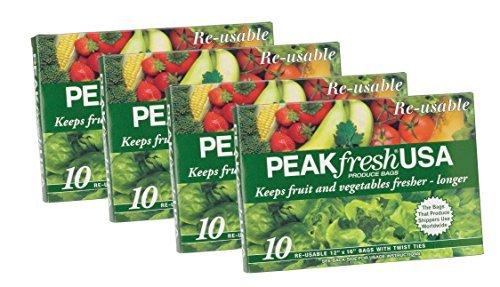 Peak Fresh Reusable Produce Bags, Set of 4, 40 Bags Total (Peak Fresh Produce Bags)