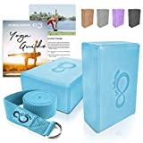 Premium Yoga Blocks & Metal D Ring Strap Yogi Set (3PC) 2 High Density EVA Foam Blocks to Support & Deepen Poses, Improve Strength & Flexibility- Lightweight, Odor & Moisture Resistant (Teal)