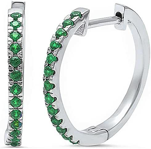 Simulated Green Emerald .925 Sterling Silver Hoop Earring
