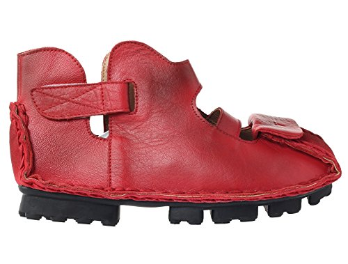 Mordenmiss Kvinna Sommar Läder Huarache Sandaler Fotled Platta Skor Stil 1-red