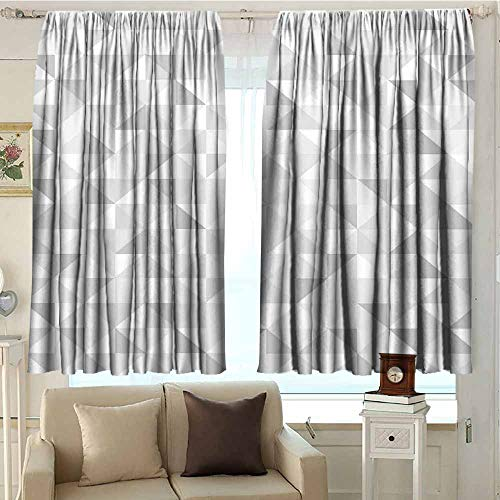 - DuckBaby Grey Extra Wide Curtains Faded Cubes Geometric Mosaic Squares and Triangles Color Movement Gradient Print Urban Art Children's Bedroom Curtain W72 xL72 Gray White