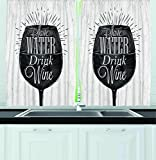 Winery Kitchen Decor Ambesonne Kitchen Decor Collection, Save Water Drink Wine Quote Wine Glass Cafe Decor Chalkboard Style Retro, Window Treatments for Kitchen Curtains 2 Panels, 55X39 Inches, Black White
