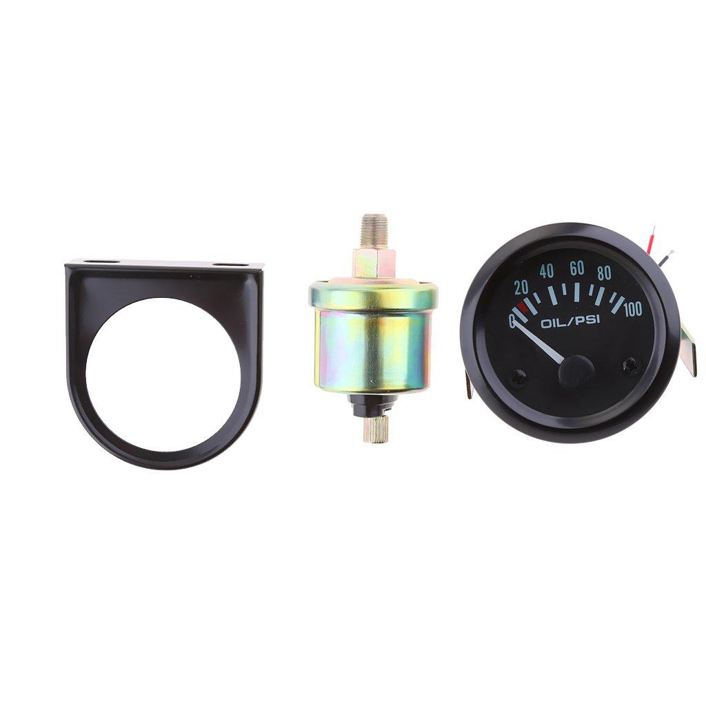 Sharplace regolabile 52 mm/5, 1 cm auto olio manometro Meter e sensore LED giallo 1cm auto olio manometro Meter e sensore LED giallo