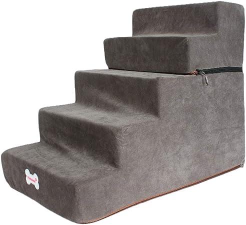 LXLA Escalera de Cama para Mascotas de 50 cm de Alto, Escalera Ajustable de 5 escalones para Perros y Gatos, admite hasta 20 Libras (Color : Dark Gray): Amazon.es: Hogar