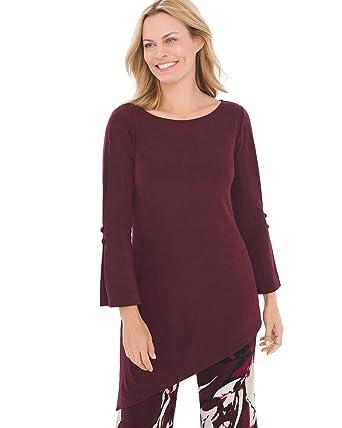 4588ec30 Chico's Women's Travelers Classic Asymmetrical Button-Sleeve Top Size 8/10  M (1
