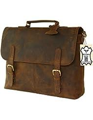 kks 16 Inch Retro Buffalo Hunter Leather Laptop Messenger Bag Office Briefcase College Bag leather bag for men...
