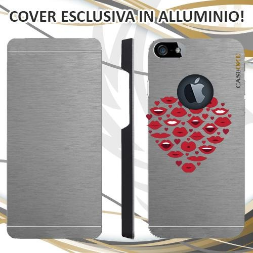 CUSTODIA COVER CASE HEART MOUTH PER IPHONE 5 ALLUMINIO TRASPARENTE