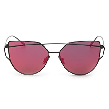 Rameng Sunglasses vintage, Miroir Cat eye Lunettes de Soleil Armature en métal (rouge)