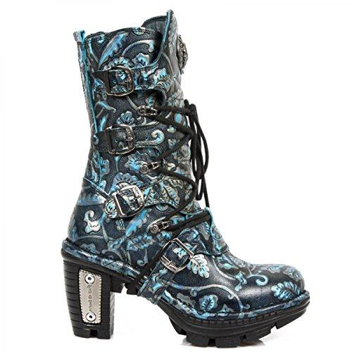 New Rock Boots M.neotr005-s41 Gotico Hardrock Punk Damen Stiefel Blau