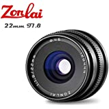Zonlai 22mm F1.8 Large Aperture Manual Focus Lens, Prime Lens for Micro Four Third Digital Mirrorless Cameras, Olympus EM-1/EM-1, Mark2/EM-10/EM-10, Mark2/EM-5/EM-5, Mark2/PEN-F/EPL8/EPL7 Black